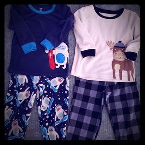 Lot of boys size 2T Carters brand fleece Pajamas